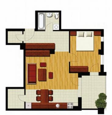 Plan apartament cu 2 camere - Model 1