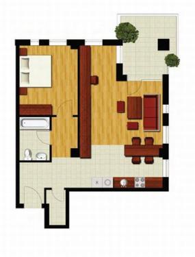 Plan apartament cu 2 camere - Model 2