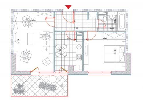 Plan apartament - 2 camere la etaj