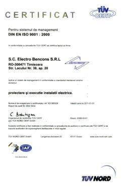 Certificat de Management al Calitatii Electro Bencons Timisoara