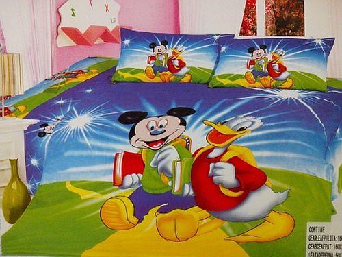 Lenjerie de pat cu imprimeu Mickey si Donald
